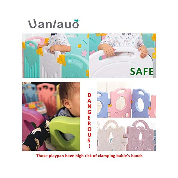 Foldable Baby Playpen Kids Activity Centre Safety Play Yard Home Indoor Outdoor New Version Uanlauo MOM'S LIFESAVER: Keep baby safe in there play centre when mom/dad needs to cook, clean up, go to the bathroom, etc. Foldable & Easy Packing: Designed with a simple fold and go deign. Easy to set up and take down within seconds.Convenient both indoor and outdoors. STURDY HOLDING: Specially designed rubber feet underneath of the yard so the parts don't go sliding around. 3