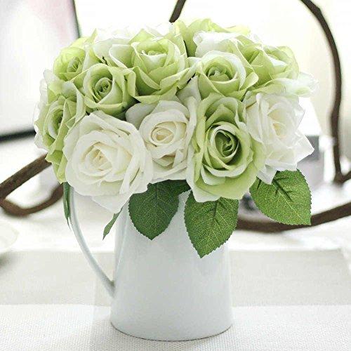 Mazzi di rose artificiali, fiori finti in seta, ideali come bouquet da sposa, per la casa, il giardino e per banchetti di nozze green