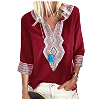 Agana Women 3/4 Sleeve V Neck Summer Printed Casual Tops Blouse T-Shirt Red XS