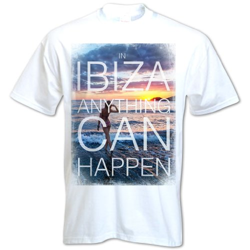 Herren In Ibiza Anything Can Happen T-Shirt Weiß