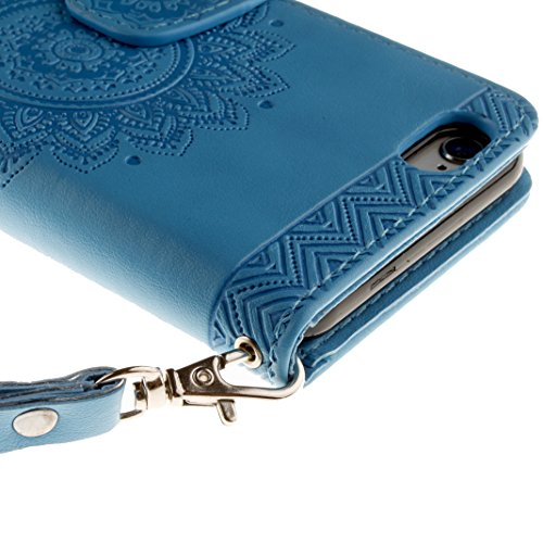 iPhone SE Schutzhülle Leder Case, iPhone 5S Hülle Mandala, iPhone 5 Bumper Hülle Mandala, Moon mood® Ledertasche für Apple iPhone 5S/SE/5 (4.0 Zoll) , PU Leder Cover Hülle Folio Handyhülle Scratch Rel Blau