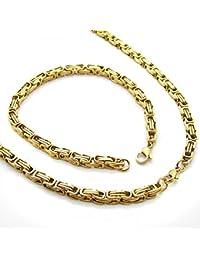 Set cadena Rey, Pulsera de cadena y collar de acero inoxidable encintado fuerte color oro 60 cm 22 cm