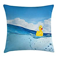 tyui7 Rubber Duck Throw Pillow Cushion Cover, Little Duckling Toy Swimming in Pond Pool Sea Sunny Day Floating on Water, Decorative Square Accent Pillow Case, 18 X 18 Inches, Blue and Yellow