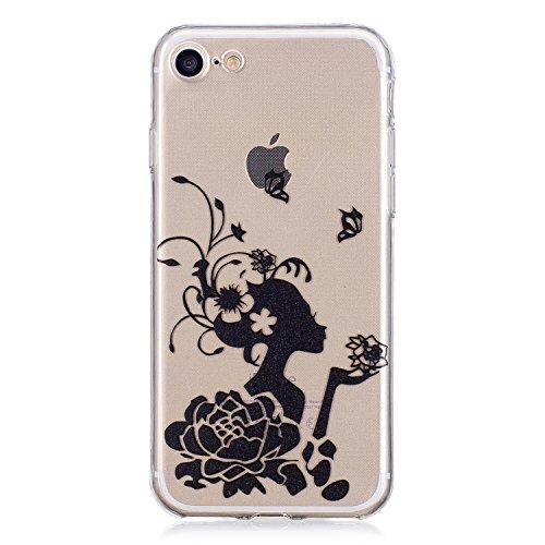 EUWLY Cover per iPhone 7/iPhone 8 (4.7),Bello Dipinto Immagine Disegno Silicone Custodia per iPhone 7/iPhone 8 (4.7),Shock-Absorption Bumper e Anti-Scratch Protettiva TPU Soft Silicone Cover [Rotazi Ragazza Fiore Nero