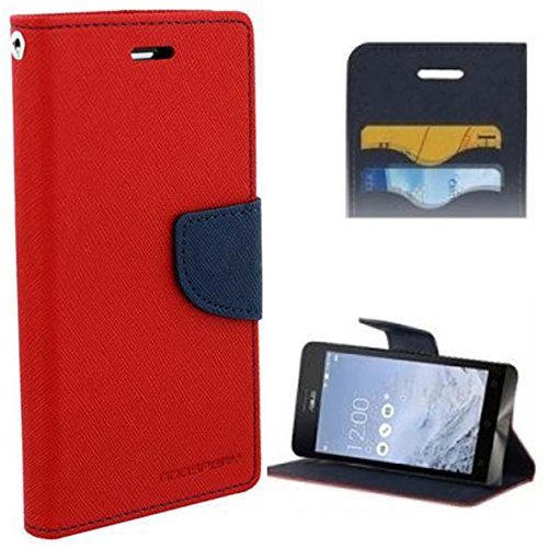 BRAND FUSON Mercury Goospery Fancy Diary Wallet Flip Cover for MICROMAX CANVAS 2 COLORS A120 RED