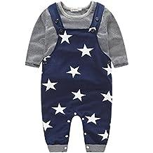 Culater® Bambino neonati maschi pantaloni stripe T-shirt Top Bib Pants In generale Outfits