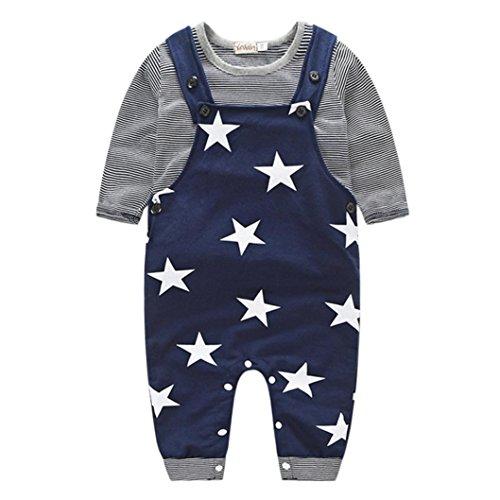 Culater® Bambino neonati maschi pantaloni stripe T-shirt Top Bib Pants In generale Outfits (70, Black)