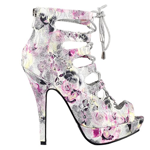 Show Story Silber Cut-Out Floral Lace Up Gladiator High Heel Stiletto-Plattform-Kn?chel Bootie Sandalen, LF30100SV38,38, Silber - Floral High Heel