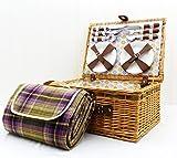 Regalos Flores Y Alimentos Best Deals - Florencia 4 persona picnic Cesta con los accesorios y el estilo tradicional de la manta púrpura