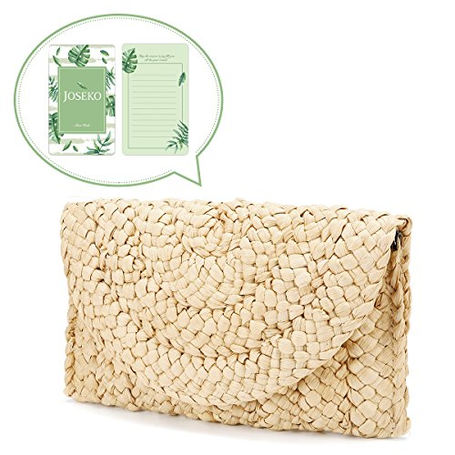 Monedero de embrague de paja,JOSEKO Bolso de mano de mujer Envelope Flat Clutch Bolsa de playa de verano