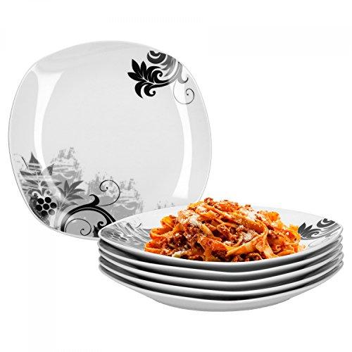 Van Well Lot de 6 assiettes plates motif fleurs noires 25 cm
