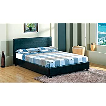 4ft 6 faux leather double bed frame in black quality material best price spring sale started - Double Bed Frame