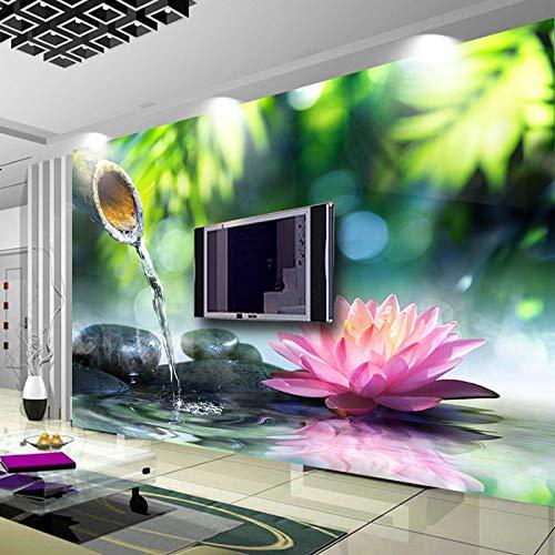 Foto Pittura 3D Bamboo Stone Lotus Soggiorno TV Sfondo Carta da Parati Home Decor Camera da Letto Non Tessuto Murale Carta da parati-450x300cm
