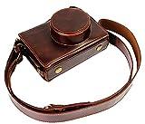 Vollsohlensicherungen Öffnungs Version Schutz-PU-Leder Kamera Tasche mit Stativ-Design-kompatibel für Fuji Fujifilm X100 x100s X100M x100t mit Schulter-Ansatz-Bügel-Gurt-Dunkelbraun