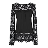 Elite99 Women Long Sleeve Embroidery Lace Chiffon Tops (Black,12)