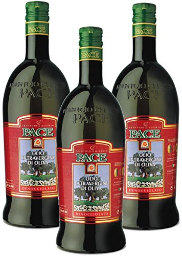 Olio extra vergine di oliva denocciolato - confezione da 3 bottiglie da lt.1-100% italiano, prodotto a freddo dalla sola polpa di oliva
