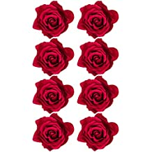 8 Piezas Pinzas de Pelo de Flor Rosa Clips de Pelo de Flor Hebillas de Pelo de Flor, Rojo
