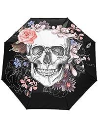 bennigiry rosa flores de muertos, forma de calavera con 3Folds Auto Abrir Cerrar paraguas compacto, resistente al viento portátil durabilidad viaje lluvia paraguas fácil de llevar