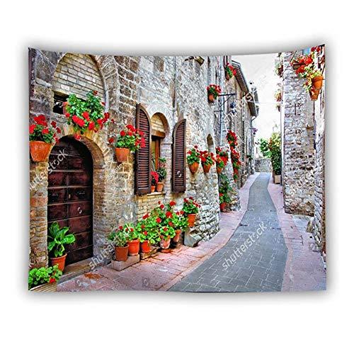 Zmymzm Tapisserie Europäische Architektur Street View Wanddekoration Hintergrund, Wohnheim Strand, Wandbehang, 150X130 cm,G,150X200cm - Street Wall Tapestry