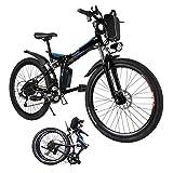 cooshional Elektrofahrrad Mountainbike Faltbar E-Bike Aluminium, 7. Gang 26 Zoll 36V Akku, mit Wasserkocher und Licht Schwarz