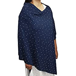 Kadambaby - Navy blue printed Premium Nursing Cover / Breastfeeding Poncho / 100% Cotton. Stylish Nursing poncho / can be used as Stole/Scarf