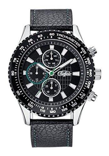 BUFFALO-Herren-Armbanduhr-Uhr-Multifunktionsuhr-schwarz