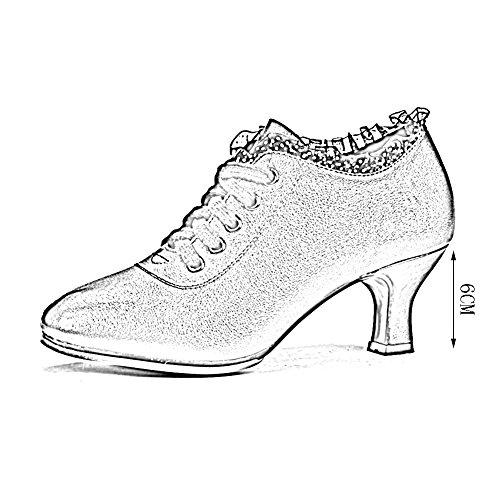 PENGFEI Tanzschuhe Schuhe Lateinischer Tanz Stiefeletten Frühling Und Sommer Mittlerer Absatz Atmungsaktiv Erwachsene Damen 2 Farben (Farbe : Rot, größe : EU39/UK6/L:245mm) - 4
