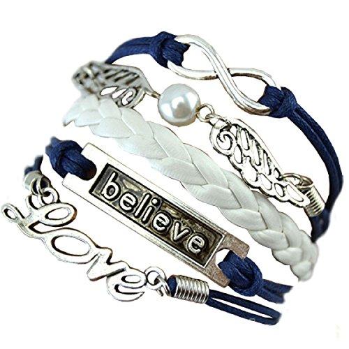 Azul - blanco - pulsera Escrito de amistad con amor y Alas cree infini