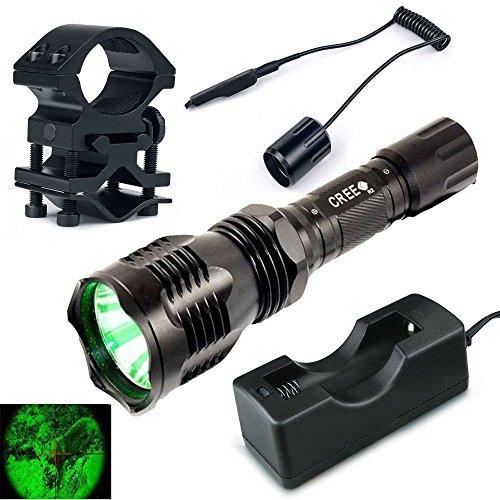 UniqueFire HS-802 verde chiaro della torcia elettrica del corredo di caccia tattica Torce + caricabatteria + Tactical Remote + supporto della pistola