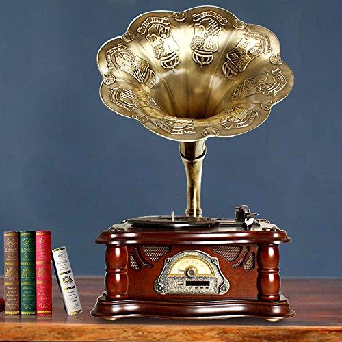 #04 GRAMMOFONO antico grammofono vinile macchina ornamenti / sound big horn europeo fonografo,e.
