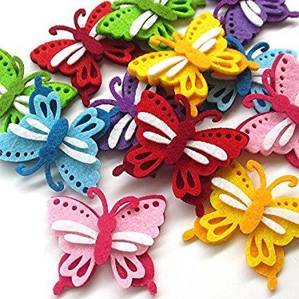 zhanyue embellishmen upick 24Gepolsterte Filz Colorful Schmetterling Applikationen Hochzeit Craft