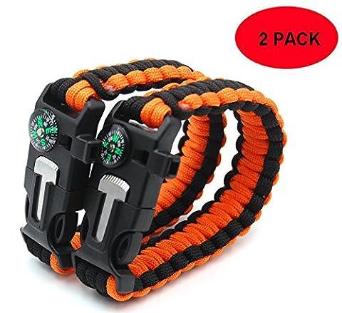 3ZZZ 5 in 1 Outdoor Survival Gear Escape Paracord Bracelet Flint / Whistle / Compass / Scraper