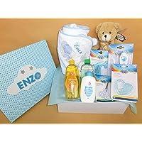 Set Regalo Bebé – Canastilla para recién nacido en rosa o azul, el regalo perfecto para recién nacido. Capa de baño, productos higiene, peluche, cepillo, peine, termometro, tijeras, mordedor.