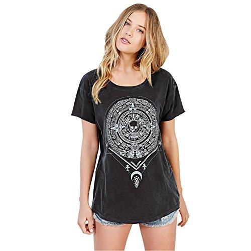 Etosell Femmes Casual Lache Squelette Noir Imprime Bref Manches Hip Hop T-Shirt Gris Fonce