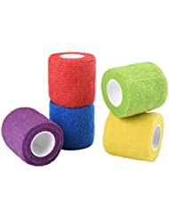 Jalan Self Adherent Bandage, Pet Vet Wrap bulk stretch Tape for Wrist, Ankle Sprains & Swelling, Assorted Color