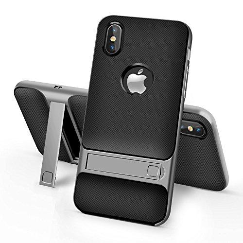 BCIT iPhone 8 Hülle - Hybrid kratzfeste stoßdämpfende TPU +PC Bumper Frame Dual Layer Tasche Schutzhülle mit Ständer für iPhone 8 - Grau Grau