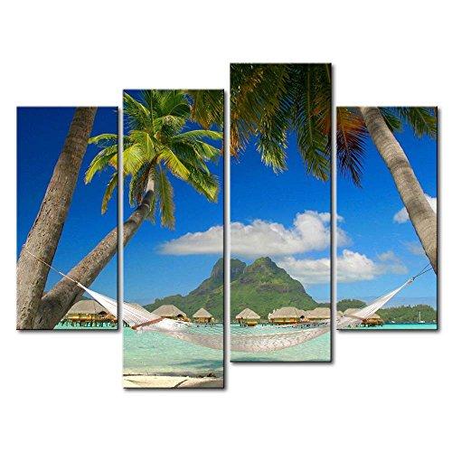 Blau 4Panel Art Wand Bild Bora Bora Coconut Baum Hängematte Drucke auf Leinwand der Seascape Bilder Öl für Home Moderne Dekoration Print Decor für Artikel
