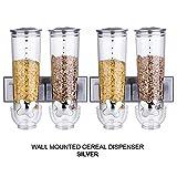2-fach/3-fach Müslispender von Denny International®, zur Wandmontage, für die Aufbewahrung trockener Lebensmittel–ein Qualitätsprodukt, Silber, Double Silver x 2