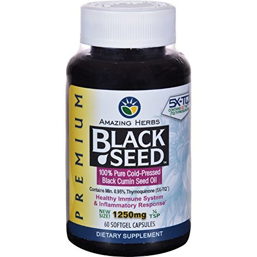 Amazing Herbs - Black Seed 100% Pure Cold-Pressed Oil 1250 mg. - 60 Softgels