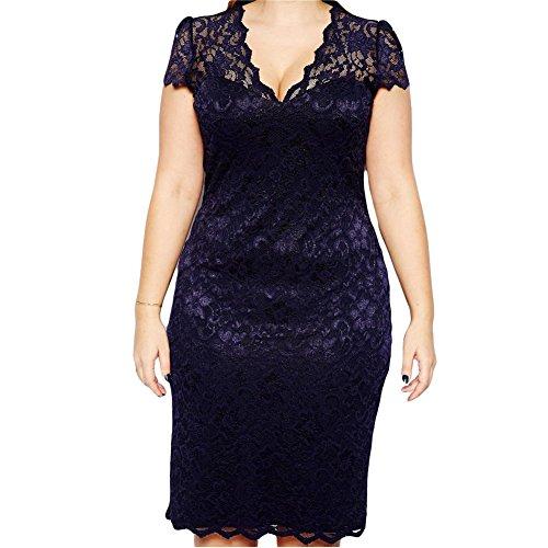 Romacci Damen Midi Kleid V-Ausschnitt Floraler Spitze Plus Size Bodycon Pencil Kleid