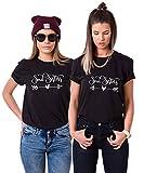 Urban Kingz Partner Damen T-Shirts Soulmate, XS + XS, Schwarz