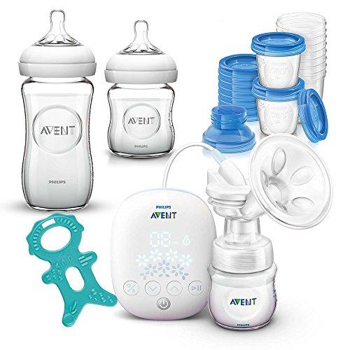 Philips Avent Premium Set Allaitement 0 mois//bouteilles en verre & Système de rangement pour lait maternel//scf301/02 électrique compact Pompe à Lait
