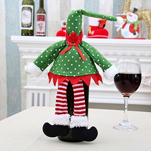 HOMEE Weihnachten Rotwein Flasche Setzt Lieferungen Rotwein Flasche Tasche Champagner Wein Tasche Weihnachtsschmuck,B,Hutgröße 5 * 24. Rockgröße 25 * 23 (Träume Tank Gestrickte)