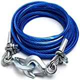 Stainless Steel Wire Tow Rope with 5 Ton (10mm*4mtr) Capacity Emergency Tow Cable with Self Locking Hook (Blue) for All Cars