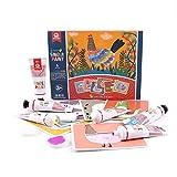 Waschbare Fingerfarbe für Kinder, kreative Kunst-Tools für Babys im Alter von 3-8 Jahr, 6 Farben von Pigment, 6 Finger Paint Paper Pad, schöne Schule Spielzeug, Non-Toxic Kids Fingerpaints