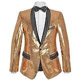 Festnight Men s Suit Dress Giacca Abito da Uomo per Smoking con Paillettes  Argentate Dorate Taglia dad040a1816