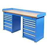 Werkbank PRO mit Arbeitsplatte aus MDF und 12 Schubladen - Werktisch, Arbeitstisch (200 x 64 cm, Blau)