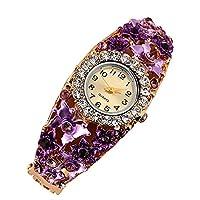 probeninmappx Women Girls Rhinestone Floral Bracelet Wristwatch Fashion Ladies Quartz Silicone Strap Watch