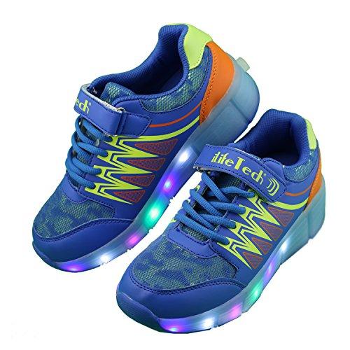 Preisvergleich Produktbild iLifetech  A40,  Mädchen Unisex Kinder Jungen Schuhe mit wiederaufladbarer LED-Beleuchtung , blau - blau - Größe: 35 EU