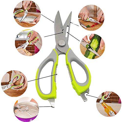 Küchenscheren 7 in 1 Multifunktions Edelstahl Küche Schere mit Scharfe Klingen & Rutschfeste Griffe (Edelstahl Multifunktions-schere)